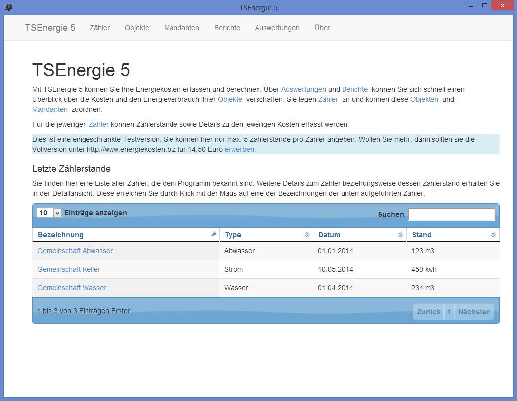 energiekosten tsenergie5 liste zaehler